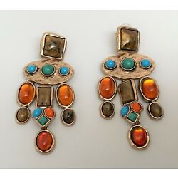 Kyпить Stunning Gold Tone Multi Color Resin Cabochons Dangle Pierced Earrings  на еВаy.соm