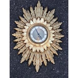 Kyпить LARGE MCM REGENCY WALL SUNBURST / STARBURST WELBY CLOCK-GERMAN 8 DAY MOVMENT на еВаy.соm