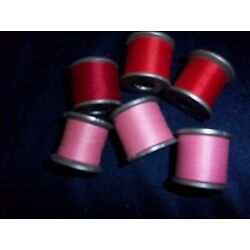 Kyпить VINTAGE LOT OF 6 SPOOLS OF MOLNLYCHE POLYESTER THREAD SHADES OF RED & PINK.  на еВаy.соm