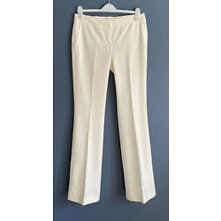 NAF NAF Cream Trousers Off White Tailored Stretch Flared Pockets UK 12 /44 Tall