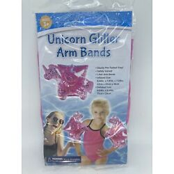 1 Pair Pink Unicorn Glitter Arm Bands Arm Floats Ages 3+