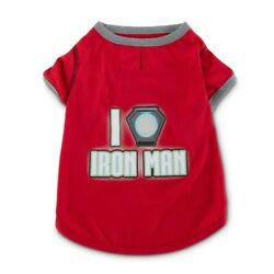 Iron Man Pet Clothes Red Dog/Cat T-shirt Marvel Fans Collection Choose Size Nwt