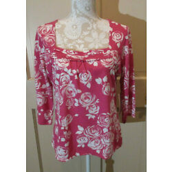 Mercer Street Studio Pink Floral Knit Top Blouse Size Large NWT 3/4 Sleeve NEW