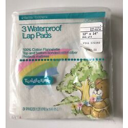 NOS New Vtg Waterproof Lap Pads JCPenny Happy Bear Rainbow Toddletime