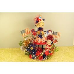 Kyпить Vintage Spun Cotton 4th of July Patriotic Girl Cake Pick Pipe Cleaner with Stars на еВаy.соm