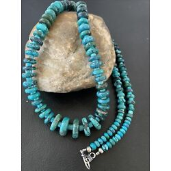 Kyпить Mens XL Navajo Sterling Silver Blue SpiderWeb Turquoise Bead Necklace 30in 02145 на еВаy.соm