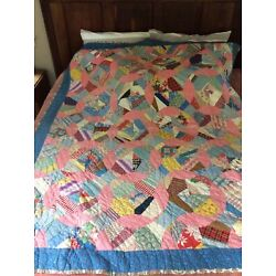 """Kyпить Antique Quilt, Mostly Hand Pieced/Hand  Quilted, Measures 68 x 82"""" на еВаy.соm"""