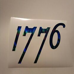 1776 Shiny Blue Vinyl Sticker Decal 3 X 4 in Patriotic Car Window Word Quote