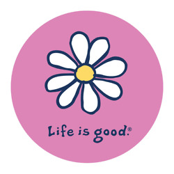 Life is Good. 4'' Circle Sticker Vintage Daisy, Happy Pink
