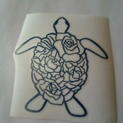 Shiny Blue Sea Turtle Roses On Shell Vinyl Sticker Decal 4X4 in Car Window