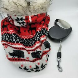 Dog Coat Winter Red Fuzzy Deer Snowflakes Sm-Med Dog & retractable Leash