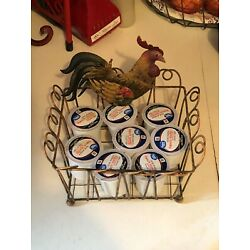 Country Kitchen Metal Basket Counter top Rooster Spice Rack kitchen organizer !