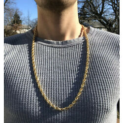 14k Gold 6mm 30 inch Mens Diamond Cut chain necklace
