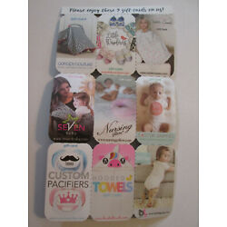 Baby Gift Cards, 9 cards $390 value, valid only at respective websites