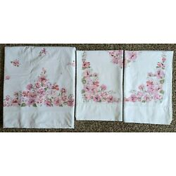 Vintage Flat Sheet 81 x 108 and Two Pillowcases Cotton Pink Flowers Cottagecore