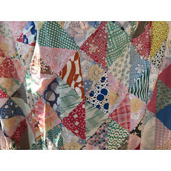 Vintage Cutter Quilt Top tattered feedsack fabric crafts