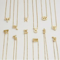 Zodiac Astrology Necklace Gold Stainless Steel