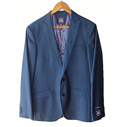 The Savile Row Company Men's Lined Stretch 40L Blue Brit Skinny Suit Jacket