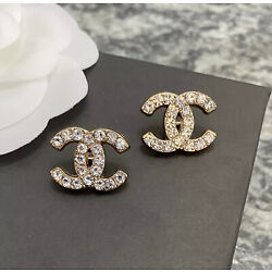 Set Of 2 Stamped CHANEL Rhinestone Gold Metal Button 19mm