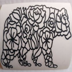 Floral Mama Bear Black Vinyl Sticker Label Decal 4X4 in Car Window Any Smooth