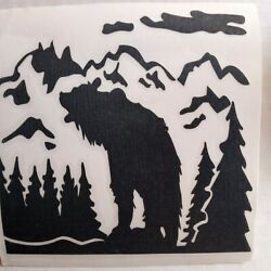 Mountain Scene Bear Black Vinyl Sticker Label Decal 4X4 in Any Smooth Surface