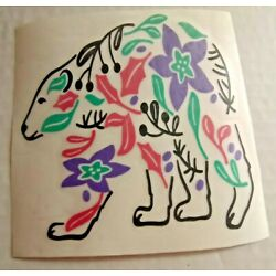 Floral Colorful Bear Vinyl Sticker Label Decal 4X4 in Any Smooth Surface