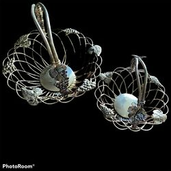 Godinger Silverplate Grape Leaf Wire Baskets Set of 2 Large and Small