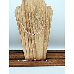 Pink & Silver Beaded Necklace w Matching Bracelet Faux Moonstones&Silver Flowers