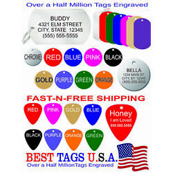 Custom Engraved Pet ID Tags Dog Cat PUPPY KITTY Made in USA $2.86 FREE SHIPPING!