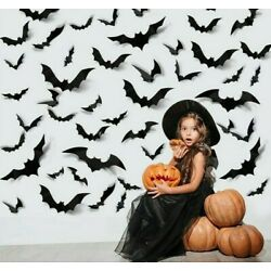 Halloween Decoration 3D Black PVC Bat Party Scary Deco Props Wall Sticker Indoor