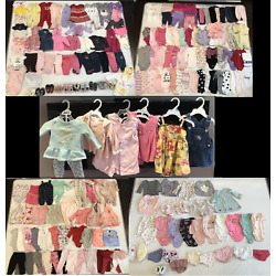 Huge Baby Girl Clothing & Shoes lot Over 200 Pc 3 Months -9 Months Winter Summer