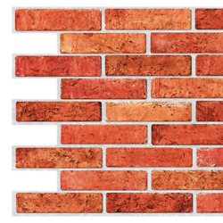 3D Falkirk Retro III 38 in. x 20 in. Red Faux Brick PVC Decorative Wall Paneling