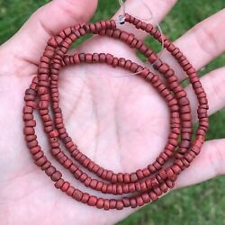 ANCIENT RED COLOR INDO-PACIFIC TRADE GLASS BEADS 4-5MM #B486