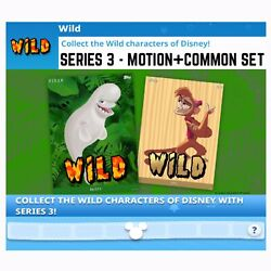 WILD SERIES 3-MOTION+COMMON SET-48 CARDS-TOPPS DISNEY COLLECT DIGITAL
