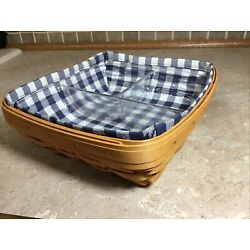 Longaberger 2002 Serving Solutions Basket With Liner -3-Way Protector 9  Square