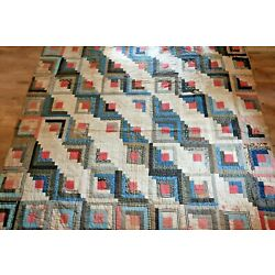 Vintage Antique Handmade Quilt Coverlet Queen 80x82 Blue Red Square Patchwork