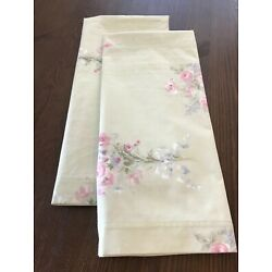 COTTAGE CHIC PAIR STANDARD PILLOWCASES ~ MINT GREEN, PINK ROSE BOUQUET