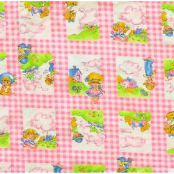 DAYGLO Pink 1970s Prairie Girls Gingham Fabric 70s Vintage BY the YARD