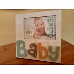 B A B Y PICTURE FRAME WHITE/COLORFUL LETTERS - 3.5