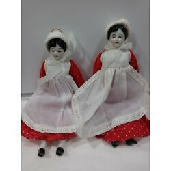 Vintage Christmas Ornaments - 2 GIRL DOLLS Porcelain face hands and legs. Shoes