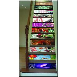 Bookcase effect staircase stickers Wall Art Stairs