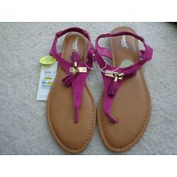 Capelli New York Women s Size 9 Pink Gold Tassel Thong Sandals Shoes NWT