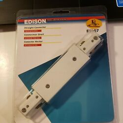 Edison Straight Connector for Track Lighting System E9107 White
