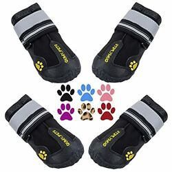 QUMY Dog Boots Waterproof Shoes for Large Dogs with Reflective Strips Rugged ...