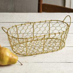Oval Chicken Wire Basket with Handles - Gold