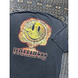 Vtg Happiness Is A Mushroom Cloud Double Sided Graphic Shirt Size 2XL War