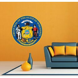 Wisconsin State Seal USA Wall Room Garage Decor Sticker Decal 22''X22''