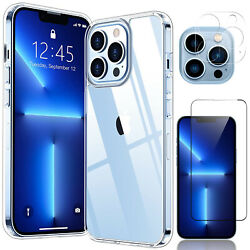For iPhone 13 Pro Max/Mini 5G Case Clear Slim Cover/Camera/Full Screen Protector