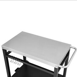 Royal Gourmet Double-Shelf Dining Cart Table - Black/Silver (PC3401S)