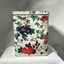 Vintage Daher England Floral Hinged Canister Tin Can Box Orange Blue Green